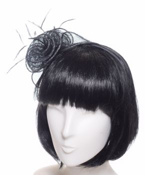Seeberger Lurex Fascinator black/grey