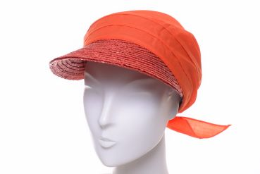 Seeberger Stroh/Stoffcap coral