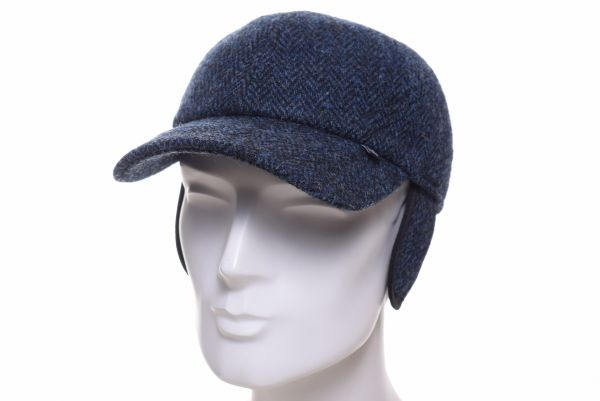 Balke Base Cap Harris Tweed heringbone blau